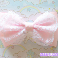 Fairy Kei Lolita Kawaii Pink lace bow by GeekSugarPuffs on Etsy