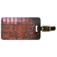 Cool Brown Wooden Ply texture With Wintry Snow Ice Bag Tag