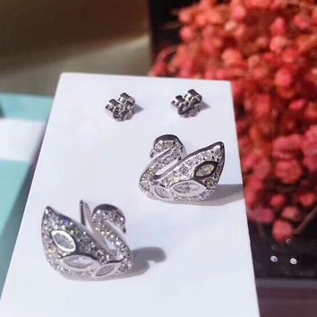 SWAROVSKI Women fashion new diamond swan earring accessories Sil 2e43b6f7c