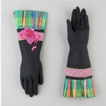 Unique rubber gloves with colorful spring plaid cuffs and fancy pink flowers. Free shipping.