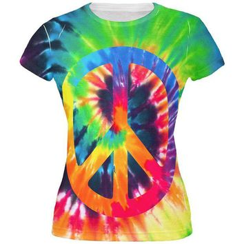 ONETOW Peace Sign Tie Dye All Over Juniors T Shirt