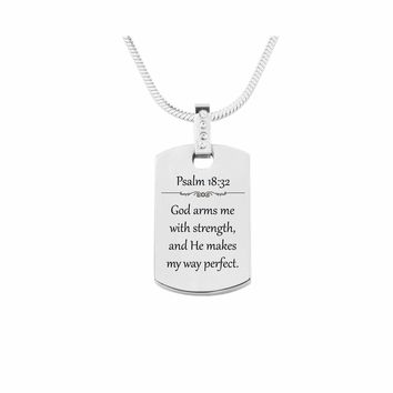 Scripture Tag Necklace with Cubic Zirconia - Psalm 18:32
