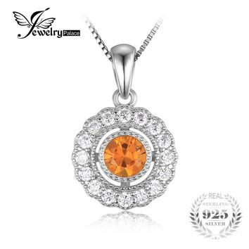 JewelryPalace Vintage 1 ct Round Created Orange Sapphire 925 Sterling Silver Wedding Pendant Women Jewelry Not Include the Chain