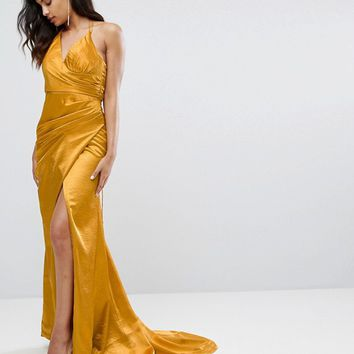 Bariano Drape Satin Gown With Strappy Back at asos.com