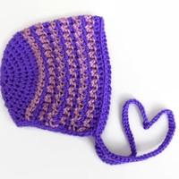 Baby Bonnet, 3-6 Month Old Baby Bonnet, Crochet Baby Hat, Purple Knit Hat
