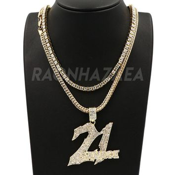 Hip Hop Iced Out 21 SAVAGE Pendant W/ Franco Chain / Tennis Choker Chain