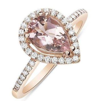 Luxinelle - 1 Carat Rose Gold Pear Cut Morganite Ring with Diamond Halo