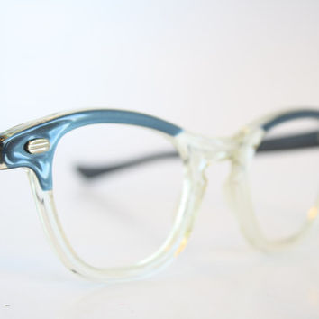 f1bd154883d Blue   Clear Cat Eye Eyeglasses Vintage Eyewear Retro Glasses Cat Eye Frames