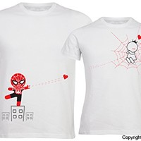 "BOLDLOFT® ""Captured by Your Love"" His and Hers Couple T Shirts in White-Couple Shirts for Boyfriend & Girlfriend,His and Hers Shirts for Husband & Wife,Couple Gifts,His and Hers Gifts"