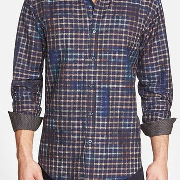 Men's Bugatchi Shaped Fit Long Sleeve Sport Shirt,