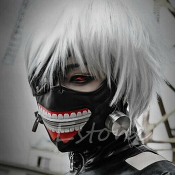 Hot sale Cosplay Masks Tokyo Ghoul Kaneki Ken Adjustable Zipper Faux Leather Mask