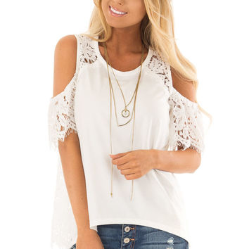 White Cold Shoulder Top with Sheer Lace Contrast