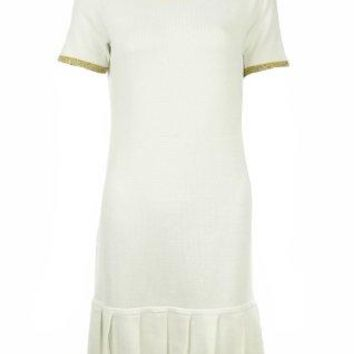 Sutton Studio Tipped Box Pleat Metallic Dress