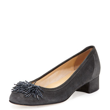 Flynn Beaded Fringe Pump, Dark Gray - Sesto Meucci