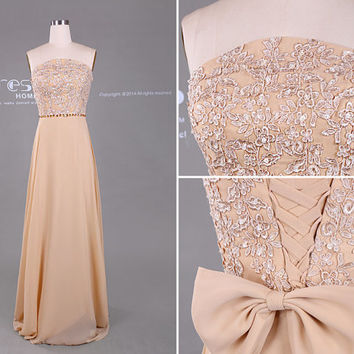2015 New Fashion Champagne Strapless Beading Lace Chiffon Long Prom Dress/ Lace Prom Dress/Corset Prom Dress/Long Prom Dresses DH404