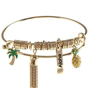 Tropical Charm & Tassel Bracelet-In Stock