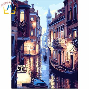 Canvas painting oil  by numbers hand paint wall paint landscape