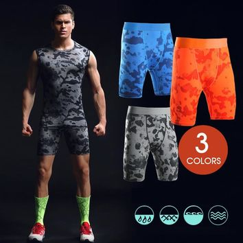 Men's Camouflage Gym Shorts Basketball Running Training Elastic Compression Quick Drying Sports Shorts(excluding Tank Tops)