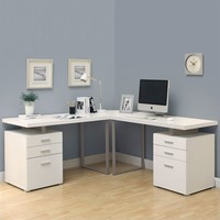 "3 Piece 48"" L Shaped Desk Set in White"