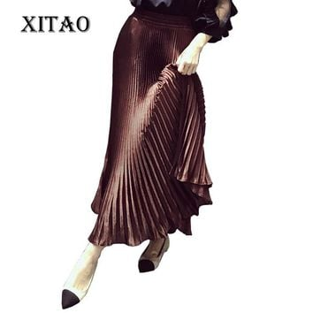 [XITAO] 2016 autumn Elegant solid color Europe fashion women empire A-line skirt pleated satin ankle-length skirt ECHE003