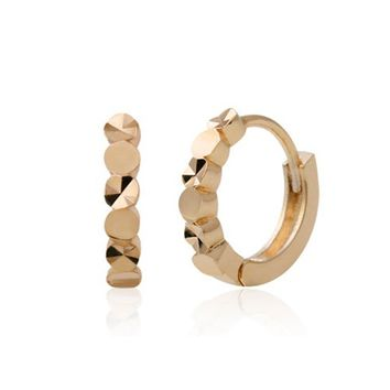 Remi Round Texturized Small Hoop Earrings with 14K Gold Pin
