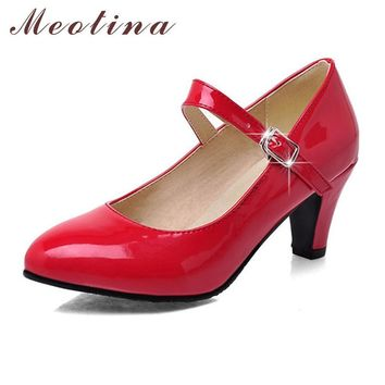 Meotina Fashion Shoes Women Pumps Spring Pointed Toe Mary Jane Chunky Medium Heels Pla