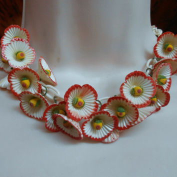 Celluloid Necklace, Red Flower Cluster, Art Deco 1930s Estate Jewelry, Celluloid Chain