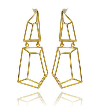Long Architectural Structure of 2 parts Gold Earrings