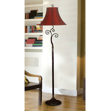 Scrolling Bronze Finish Floor Lamp with Red Gold Swirls Bell Shade