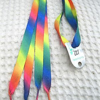 Premium Rainbow Diagonal Stripes Gay Pride Rockabilly Punk Shoe laces Shoelaces