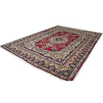 Oriental Tabriz Wool and Cotton Persian Rug, Red/Blue