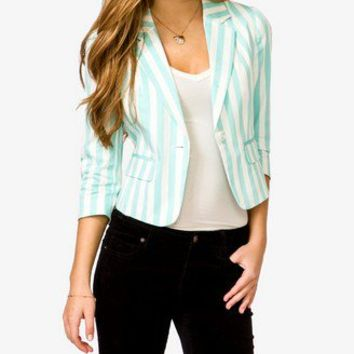 Single Button Striped Blazer