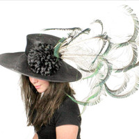 Black and Peacock  Kentucky Derby or Wedding Hat