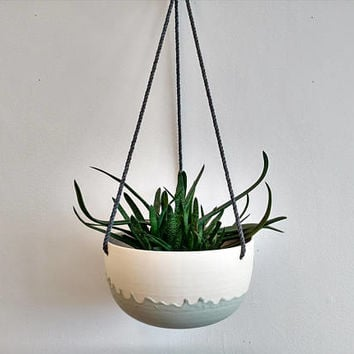 Large hanging planter. Ceramic plant hanger, succulent pot, terrarium. Modern plant holder. Turquoise and white.