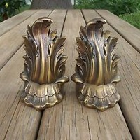 Rococo Style Brass or Bronze Heavy Metal Book Ends Late Baroque Inspired Bookend
