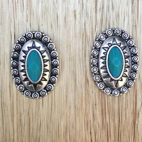Wild Child Turquoise Stud Earrings In Silver