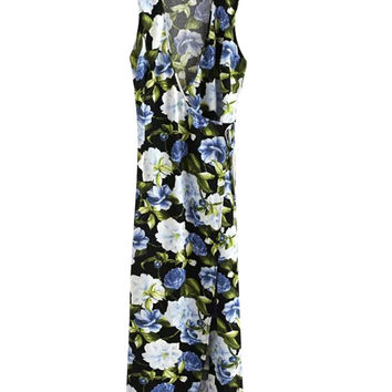 Sleeveless Floral Maxi Dress with Tie Waist