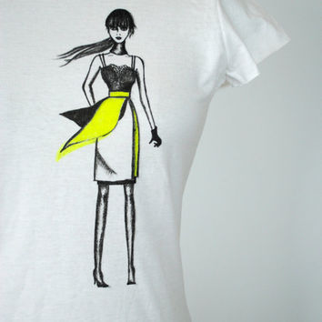 Sale Neon Original Fashion illustration Tshirt, Tank, Neon yellow, One of a kind, Wearable art, White, Gift for her under 25