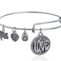 Alex and Ani style Love pattern pendant charm bracelet