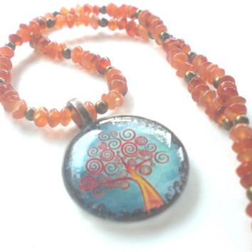 Tree of Life Necklace in Orange and Turquoise