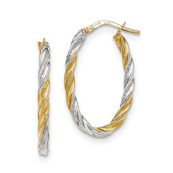 14K Two-Tone Gold and Rhodium Twisted Oval Hoop Earrings