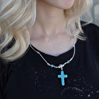 Turquoise Cross Necklace and Earrings