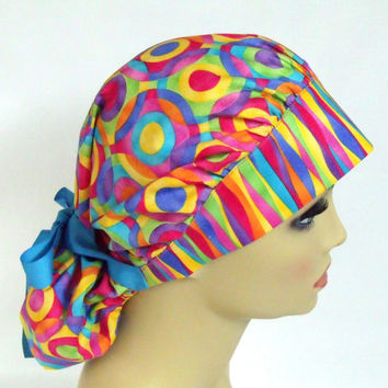 Women's Bouffant Scrub Hat or Cap Multicolored Circles and Stripes