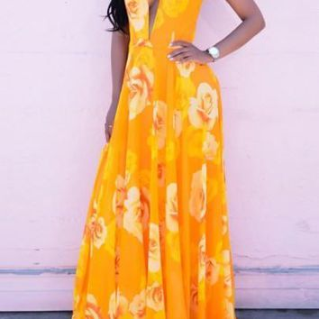 Yellow Floral Condole Belt Plunging Neckline Draped Backless Fashion Summer Maxi Dress