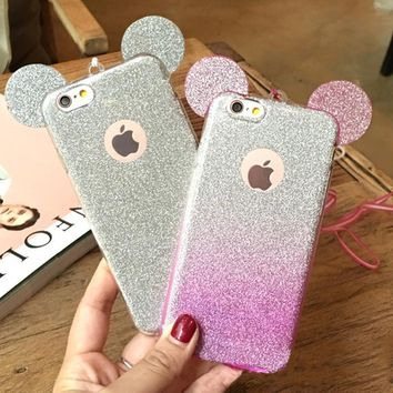 3D Mouse Ears Soft TPU  Candy Color Phone Cases for iPhone 5 5S SE 6 6S 7 Plus