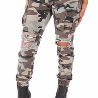 Camouflage Cargo Distressed Stretch Denim Joggers