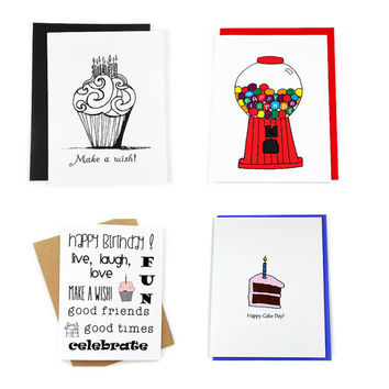 Birthday Card Assortment. Set of 4.  Mixed Greeting Card Variety Pack.  Set of Birthday Cards in Box.