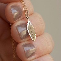 Feather Necklace - Solid Bronze Feather Charm . 14K Gold-Filled Chain . Native American . Tribal . Bohemian . Minimal Charm Jewelry
