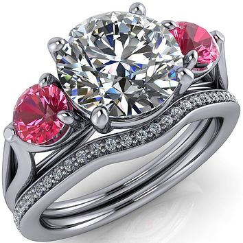 Mira Round Moissanite Pink Sapphire Side Split Shank Cathedral Hybrid Engagement Ring
