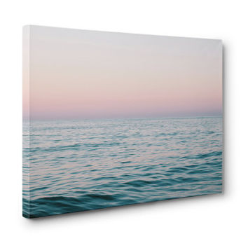 Pastel Sea - Canvas Gallery Wrap, Pink & Blue Ocean Nautical Decor, Beach Coastal Surf Home Wall Art Canvas. In 8x10 11x14 16x20 20x24 24x36